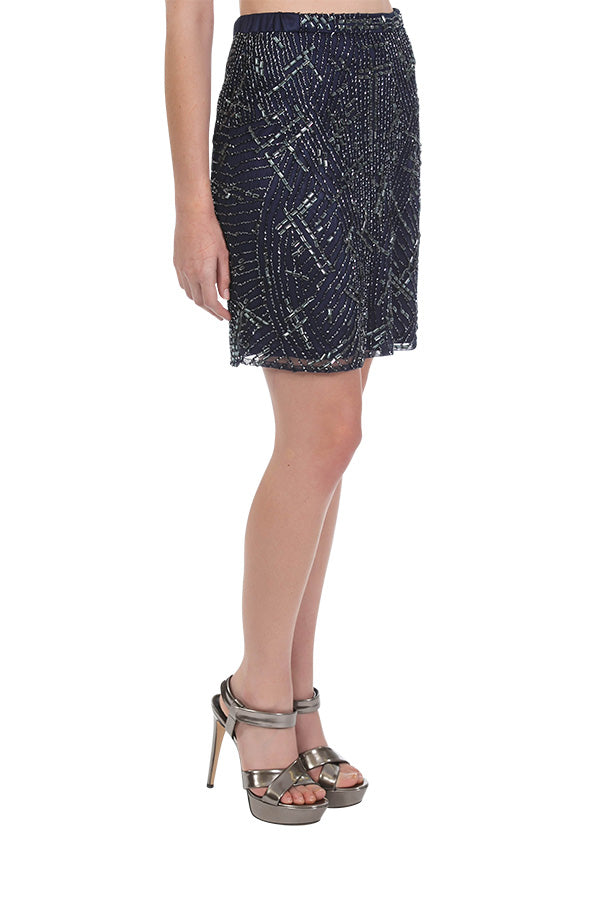 Amplify Beaded Skirt - Midnight Blue