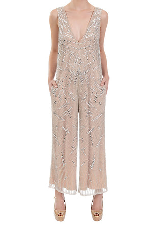 Amplify Beaded Jumpsuit - Champagne Silver