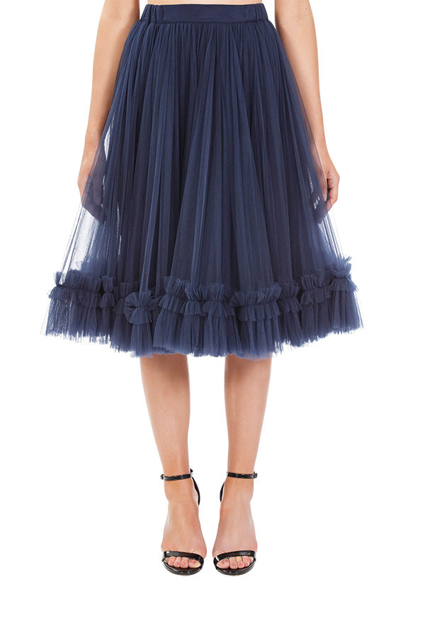 Trapeze Frill Skirt - Midnight Blue