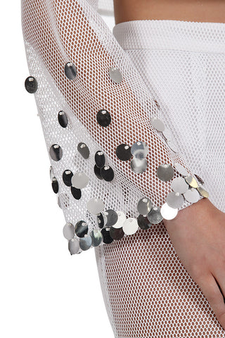Medalian Top - White/Silver Sequin