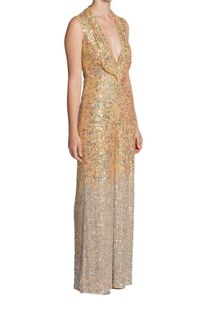 Elton Sequin Jumpsuit (Hand-beaded Gold/Silver)