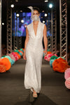 Elton Sequin Jumpsuit (Hand-beaded Pearl White)
