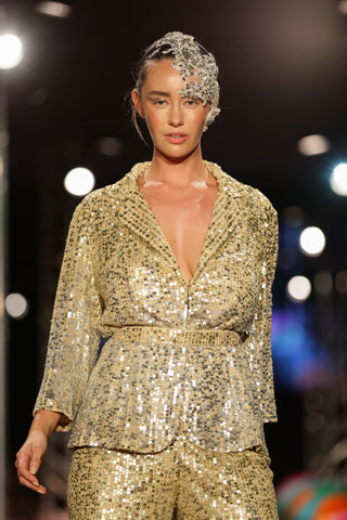 Luxe Lounge Blazer (Hand-Beaded Gold/Silver)