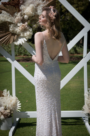 Glitz Gown (Hand-Beaded Pearl White)
