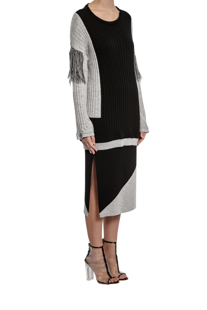 Column Knit Skirt - Black/Grey