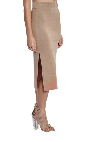 Column Knit Skirt - Taupe/Dusty Pink