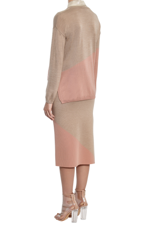 Column Knit Jumper - Taupe/Pink