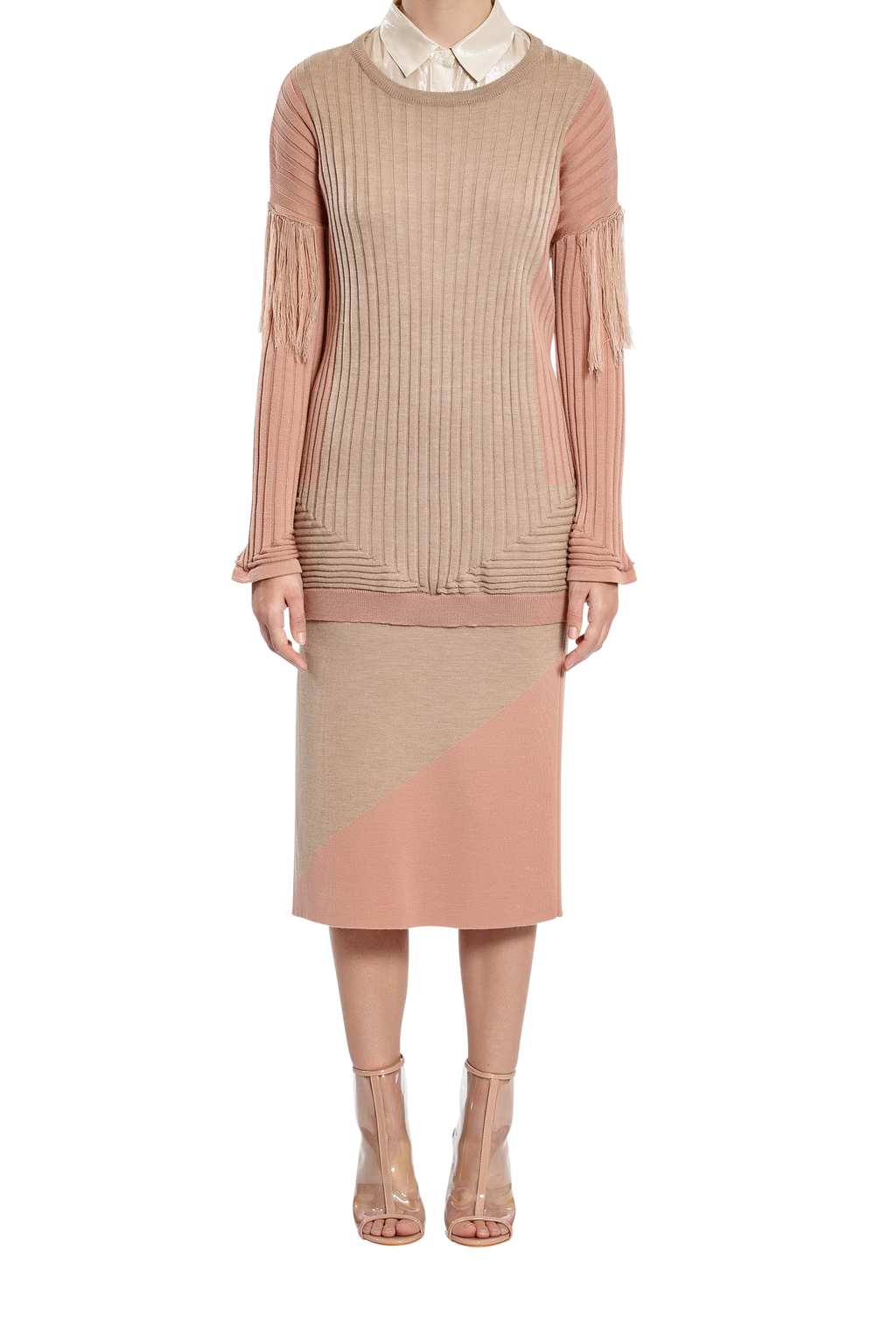 Shadows Rib Jumper - Taupe/Pink