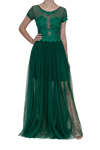 Illusion Lace Gown - Emerald