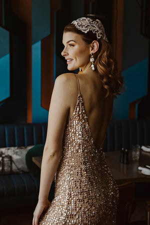 Glitz Gown (Hand-Beaded Champagne Blush)