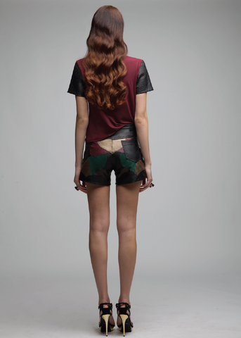 Patchwork Leather Shorts