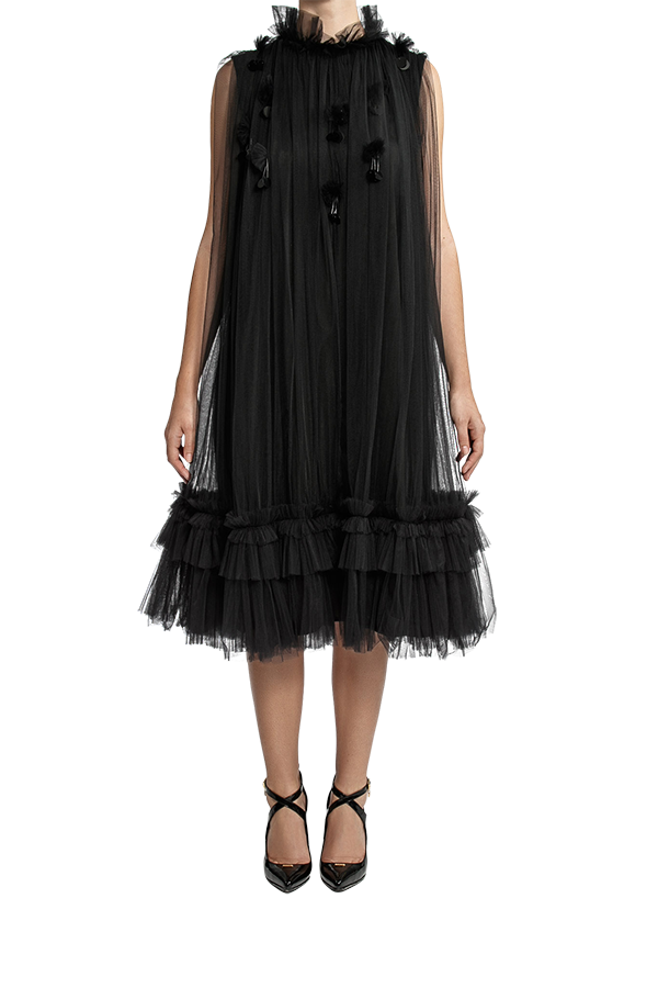 Trapeze Frill Dress - Black