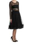 Trapeze Frill Skirt  - Black