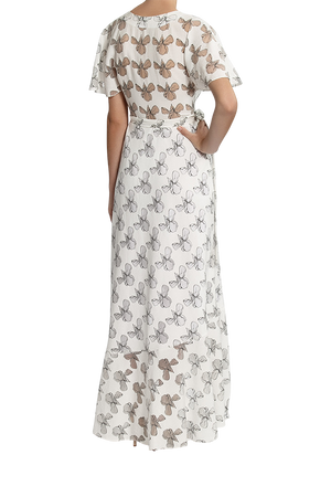 Zenith Wrap Maxi Dress - Black / White