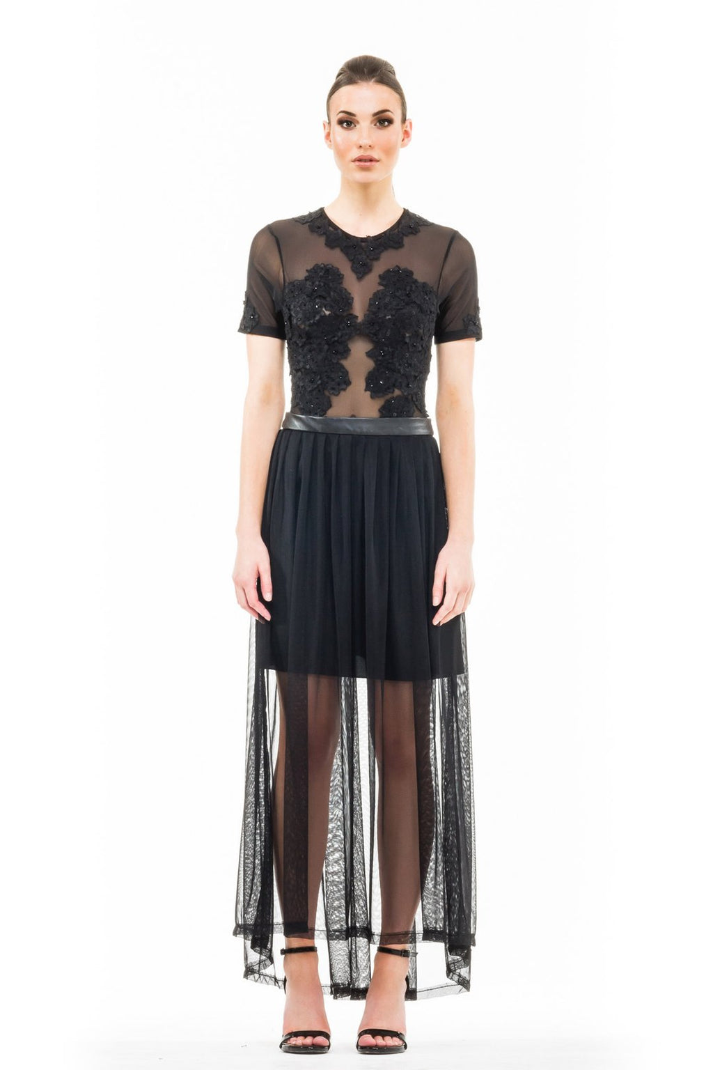 Leather Net Maxi Skirt - Black