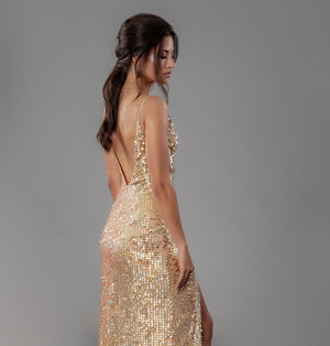 Glitz Gown (Hand-Beaded Gold/Silver)