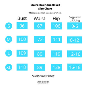 Claire Classic Roundneck Sleepwear Set (Tshirt + Shorts)