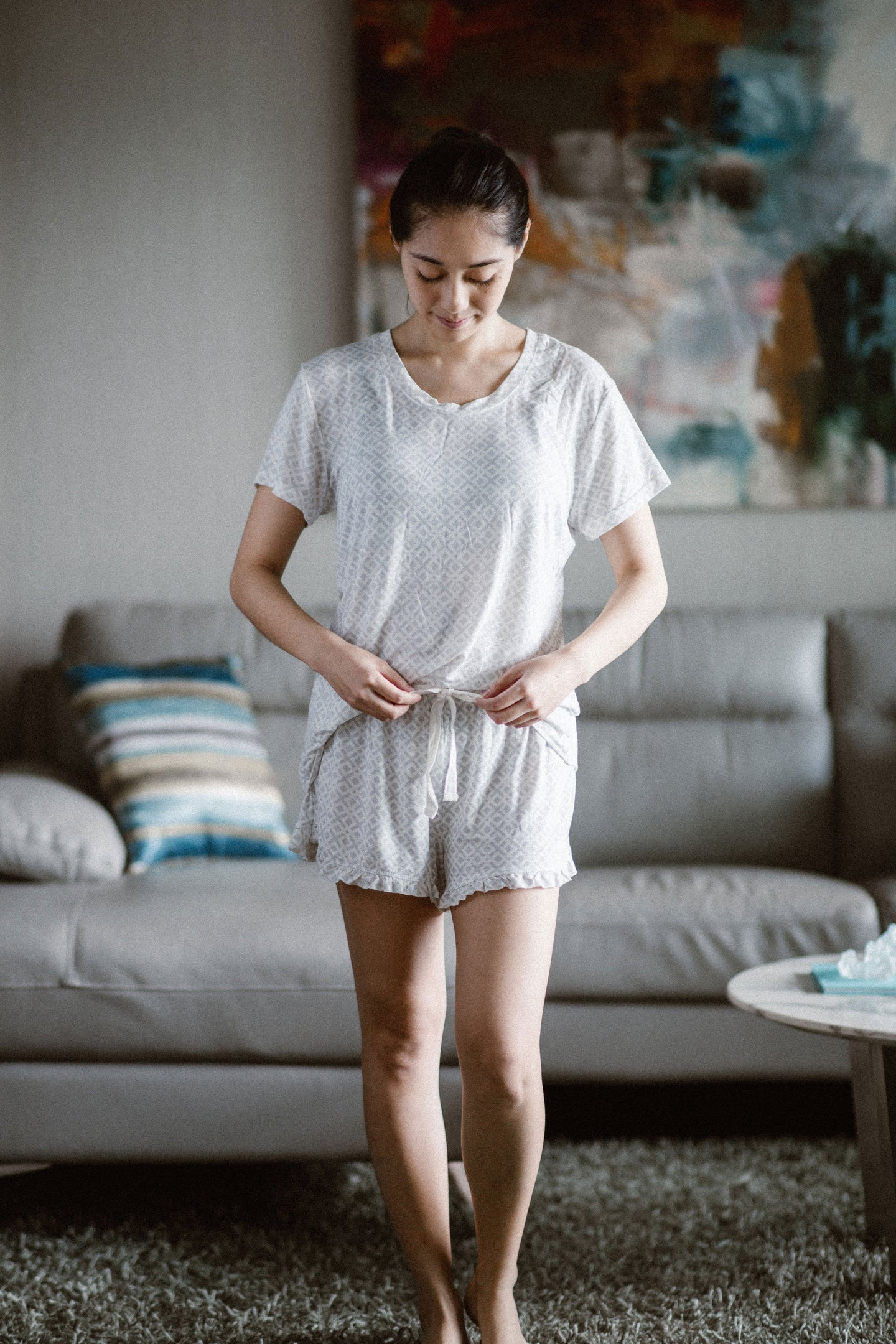 Bamboo Sleepwear Set Shorts and Tshirt- Gray Diamonds