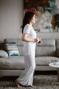 Bamboo Sleepwear Pants and Tshirt Set- Gray Square