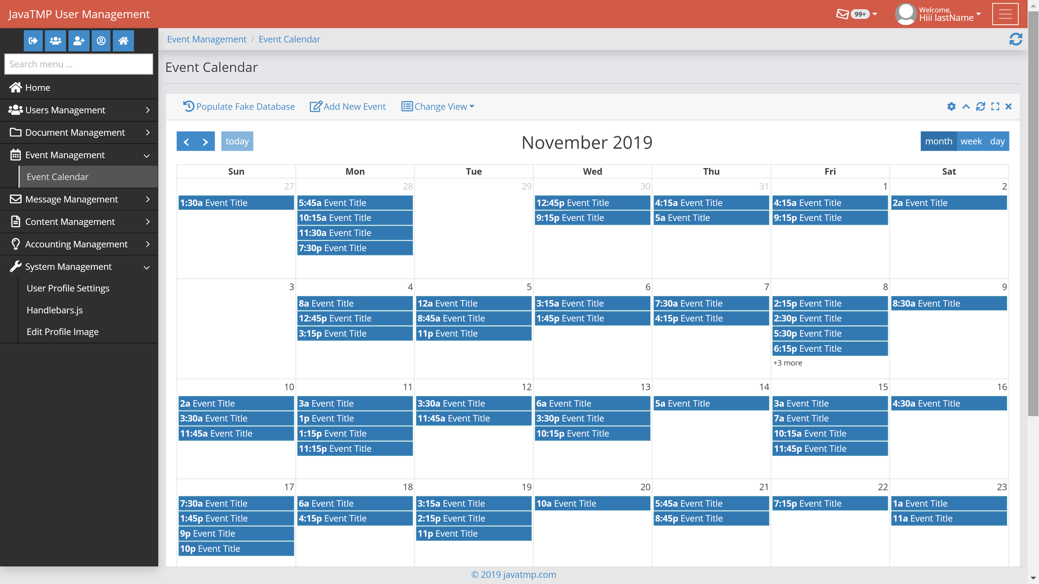 Java Bootstrap mysql jpa Diary and Calendar Events module