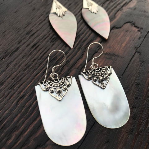 Sterling Silver Stone and Shell Earrings