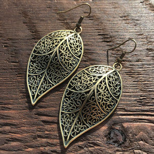 'Just Brass' Antique Style Leaf Design Drop Earrings