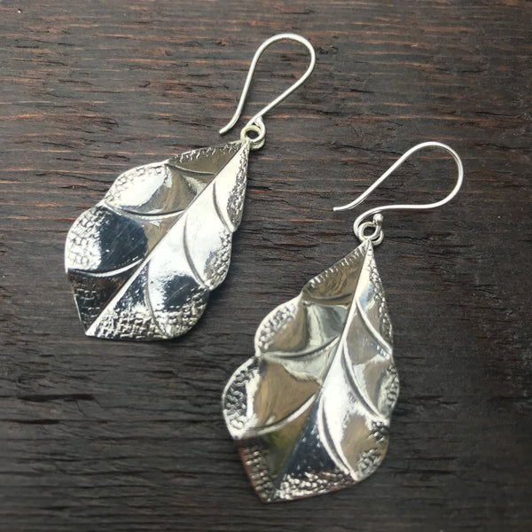 'Karen Hill Tribe' Etched Leaf Shape Sterling Silver Earrings