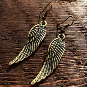 'Brass-Works' Wing Design Drop Earrings