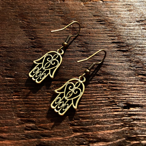 'Brass-Works' Hamsa Hand Design Drop Earrings (Small)