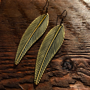 'Just Brass' Elongated Leaf Earrings