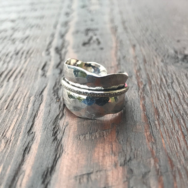 'Karen Hill Tribe' Hammered Effect Ring with Central Overlay Band
