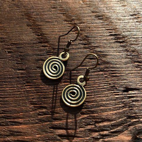 'Brass-Works' Coil Swirl Design Drop Earrings