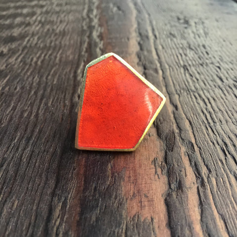 'Brass-Works' Handmade Red Enamel Abstract Pentagon Ring