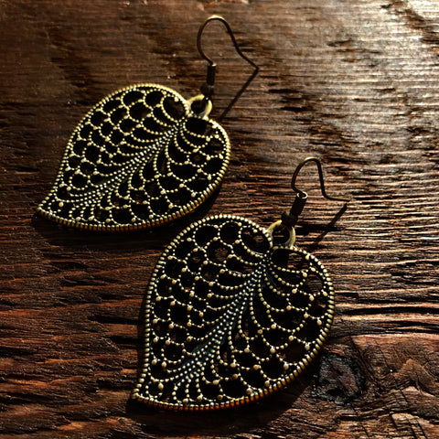 'Just Brass' Filigree Leaf Design Drop Earrings