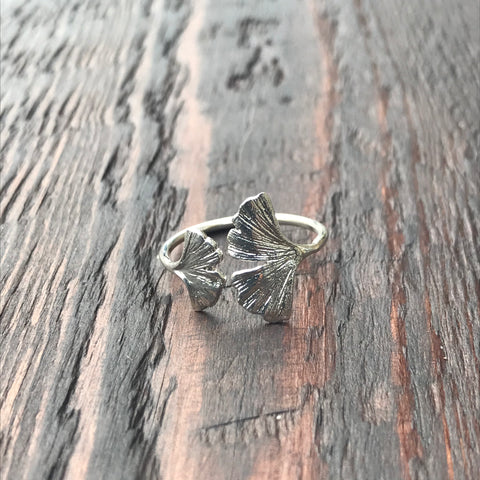 Gingko Leaf Sterling Silver Ring