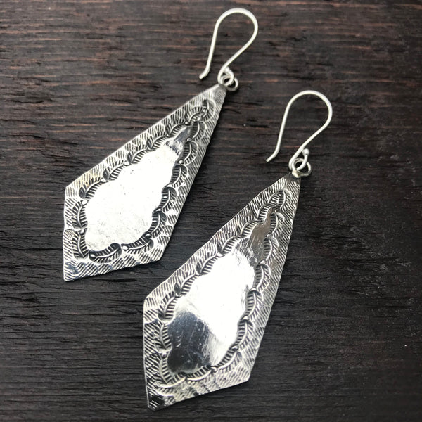 Karen Hill Tribe  Elongated Diamond Shaped Leaf Etched Sterling Silver Earrings