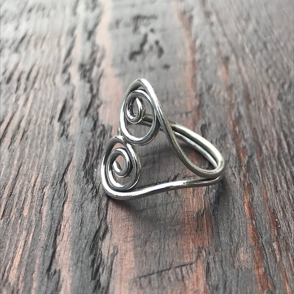 Spiral Abstract Design Sterling Silver Ring