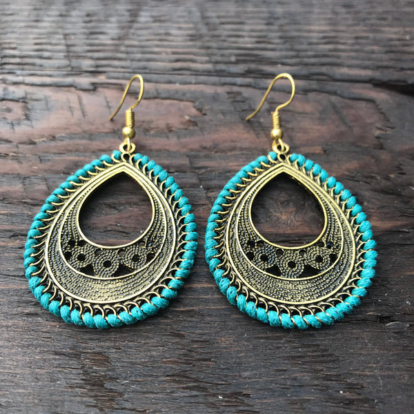 'Ethnic Vibes' Pear Shaped Design Statement Earrings