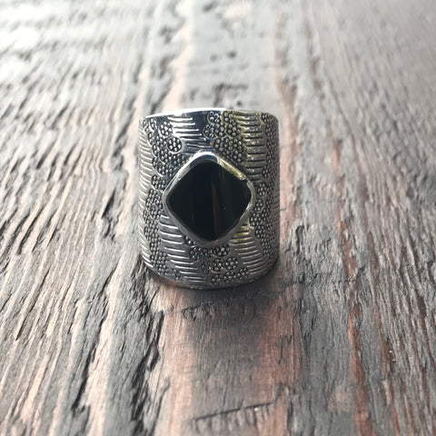 Mayan Sterling Silver & Black Onyx Ring