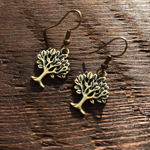 'Just Brass' Small Tree Design Drop Earrings