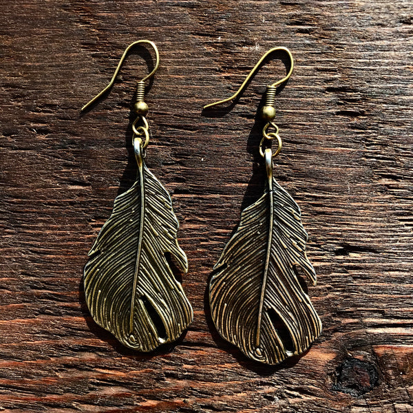'Brass-Works' Pear Shaped Leaf Drop Earrings