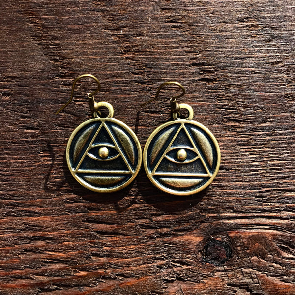 'Just Brass' All Seeing Eye Design Drop Earrings