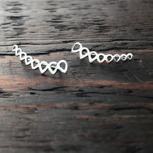 Sterling Silver 'Teardrop' Design Ear Climbers