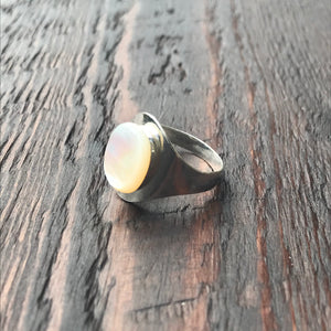 Mother of Pearl & Sterling Silver Signet Ring Design