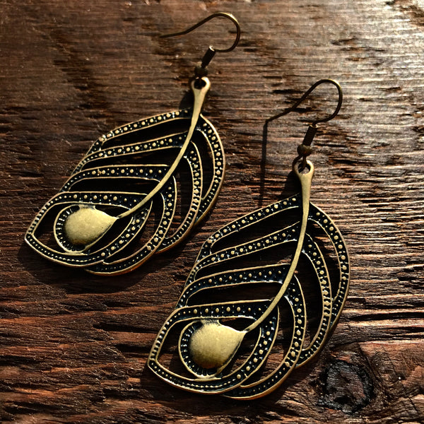 'Brass-Works' BoHo Leaf Design Drop Earrings