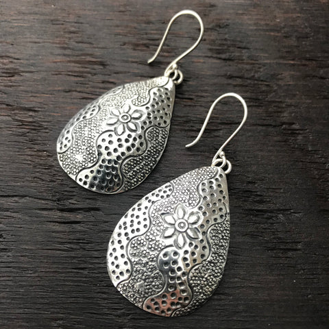 'Karen Hill Tribe'  Dome Sterling Silver Earrings With Abstract Design