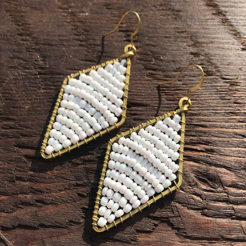 Handmade 'Brass-works' Diamond Shape Bead & Brass Drop Earrings - White