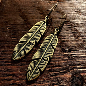 'Brass-Works' Feather Leaf Design Drop Earrings