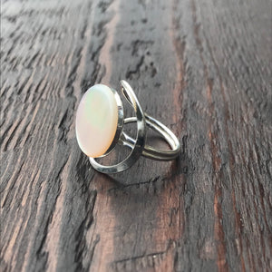 Mother of Pearl Abstract Setting Sterling Silver Ring
