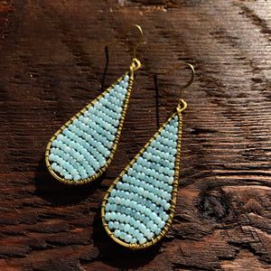 'Bead Love' Handmade Teardrop Bead & Brass Drop Earrings - Grey/Green